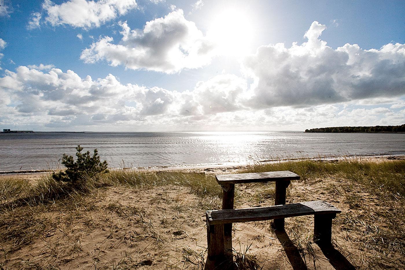 Alet en bänk på stranden