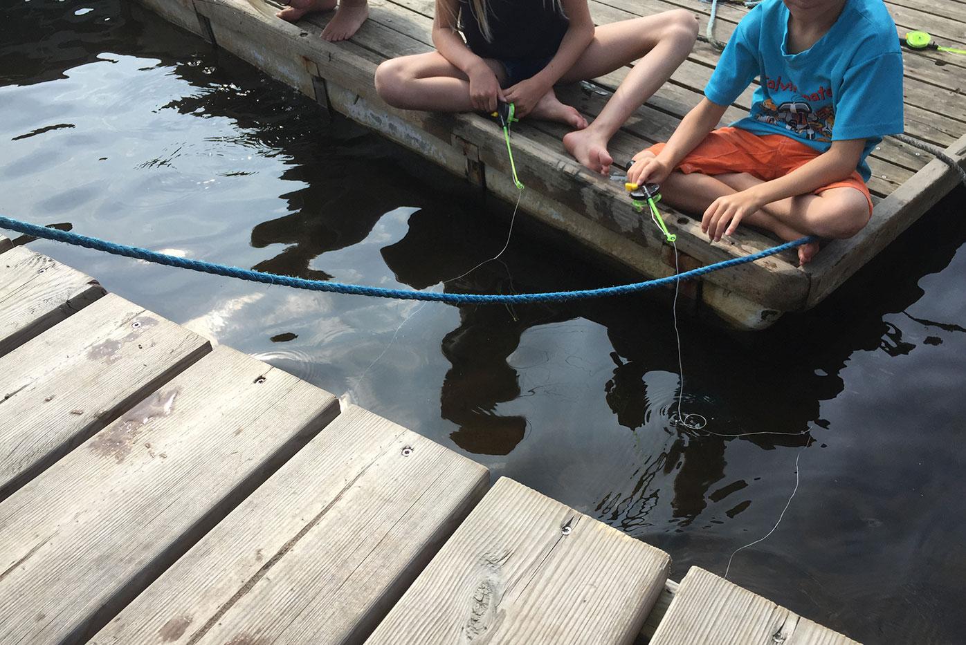 Barn på brygga som fiskar krabbor Halmstad