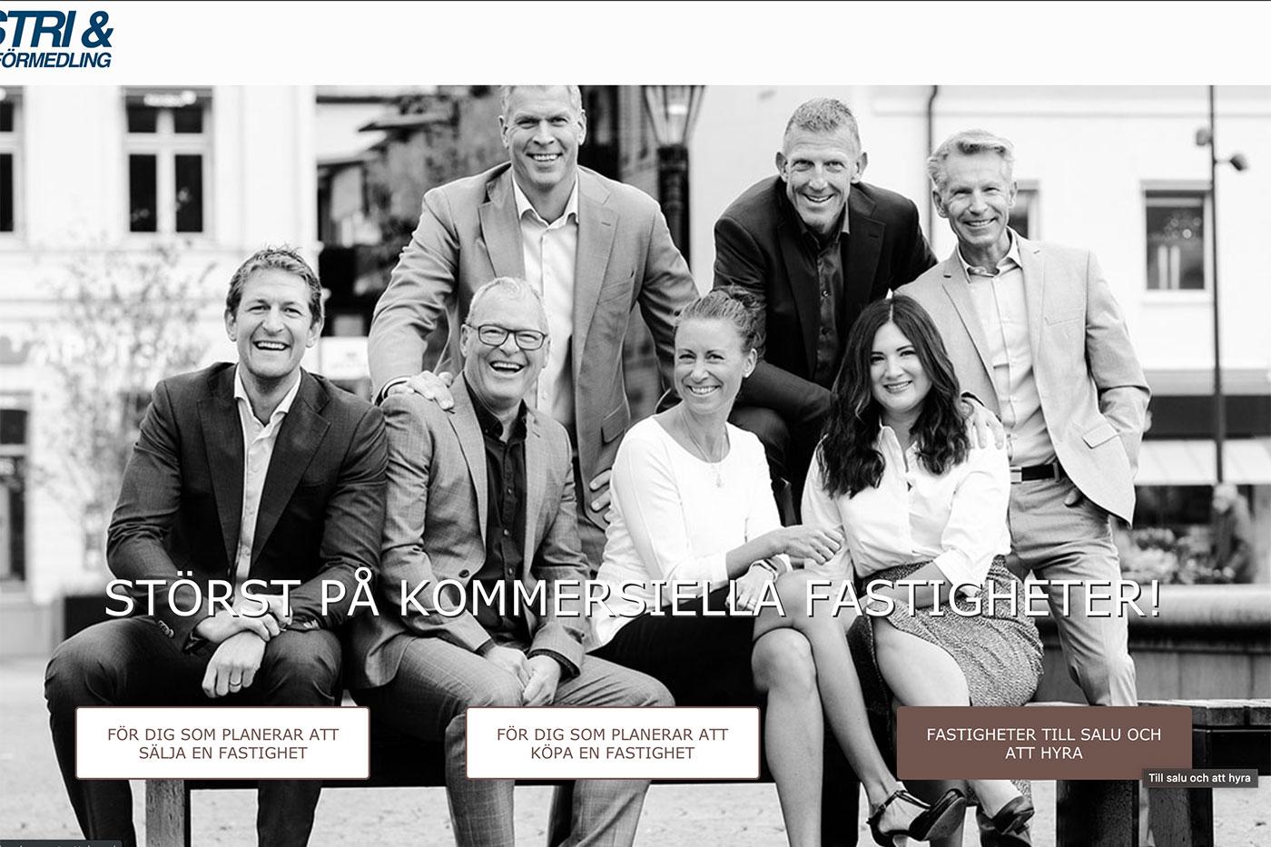 Industriförmedling förstasida webb