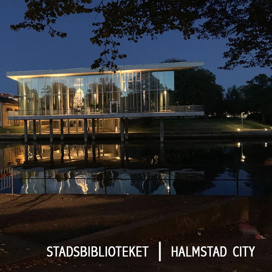 stadsbiblioteket i halmstad by night smultronställen i Halmstad
